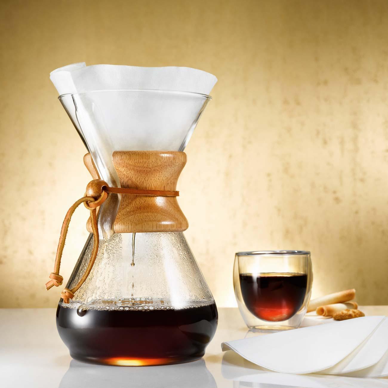 Chemex kaffee karaffe aus glas mit holzgriff f r 8 tassen - Bilder cappuccino ...