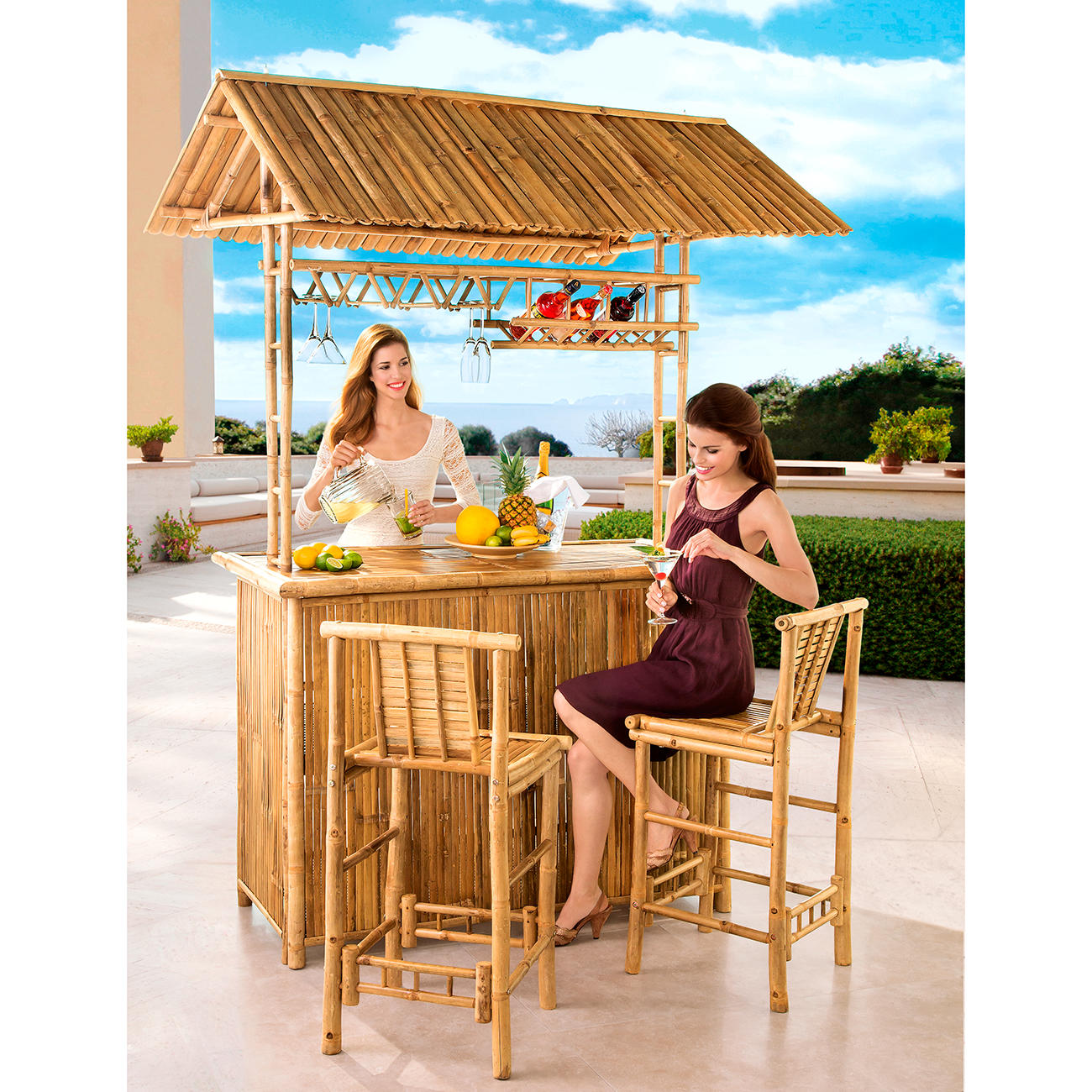 tiki bar mit zwei st hlen 3 jahre garantie pro idee. Black Bedroom Furniture Sets. Home Design Ideas