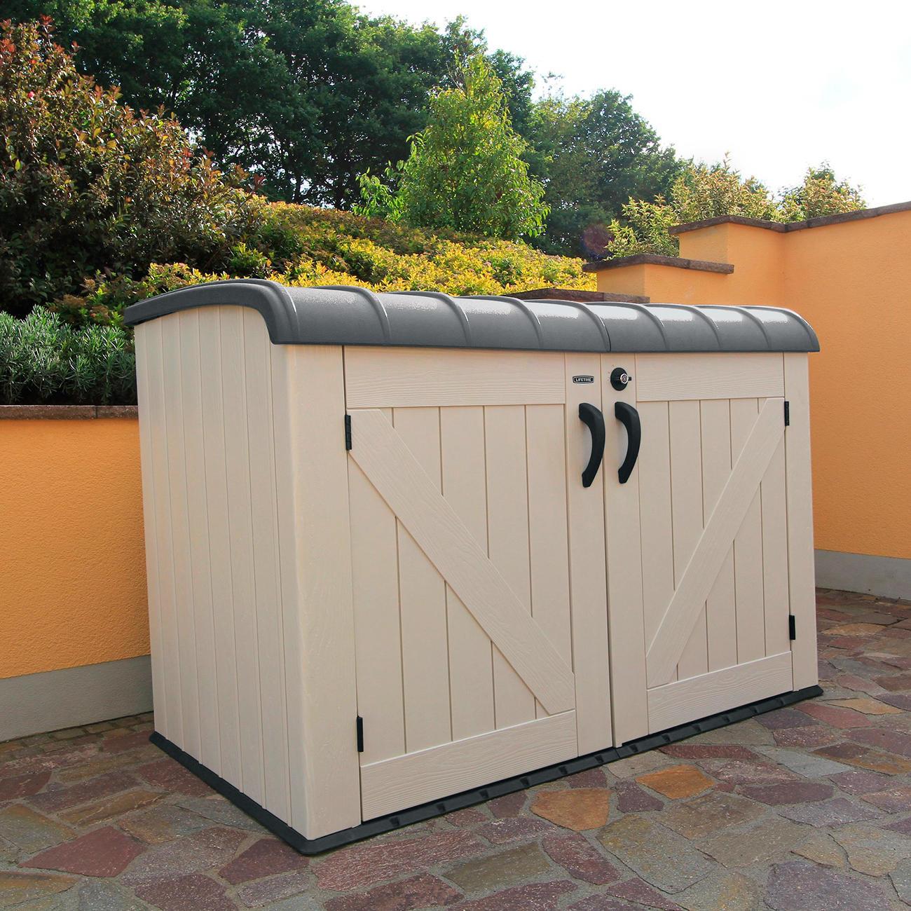 lifetime xxl kunststoff m lltonnenbox ger tebox aufbewahrungsbox grau 192 x 131 x 108 cm. Black Bedroom Furniture Sets. Home Design Ideas