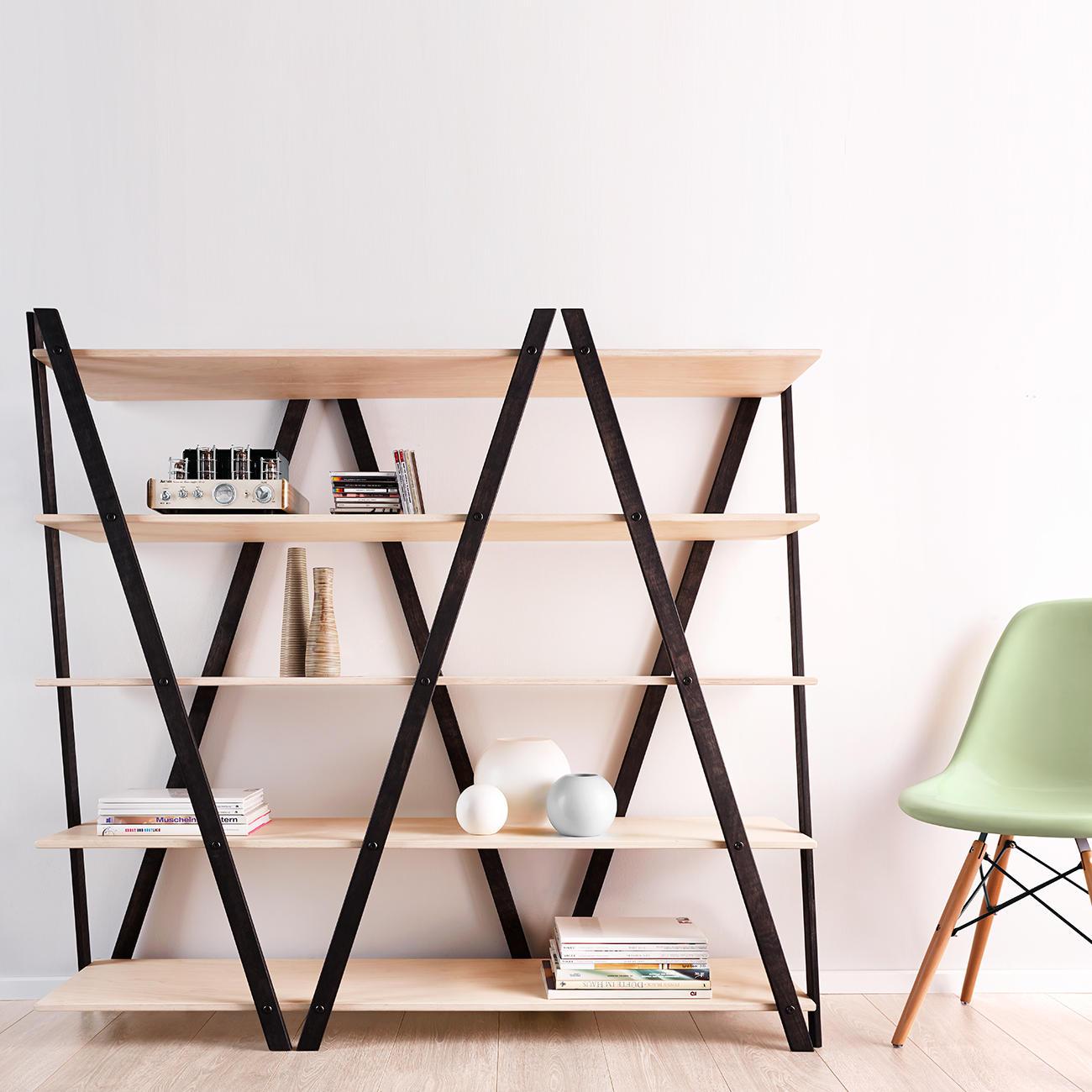 zick zack regal schwarz mit wei ge lten b den kaufen. Black Bedroom Furniture Sets. Home Design Ideas