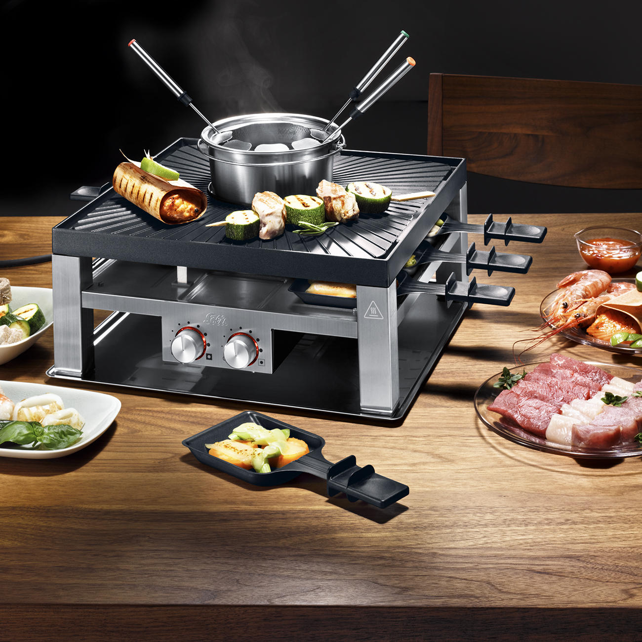 solis combi grill 3 in 1 design raclette tischgrill fondue set. Black Bedroom Furniture Sets. Home Design Ideas