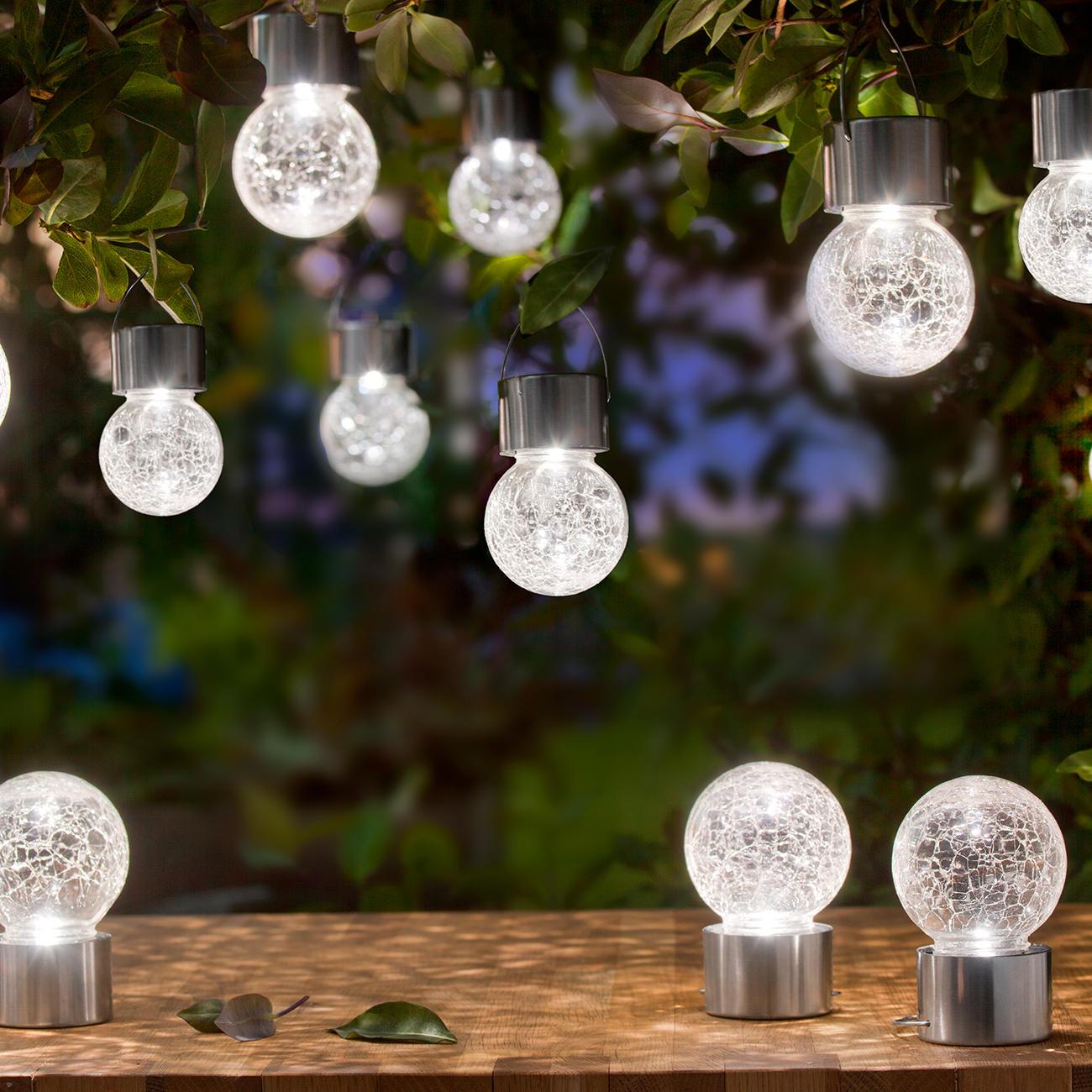Esotec solar steckerleuchte crackle ball 3er set kaufen for Lamp und licht