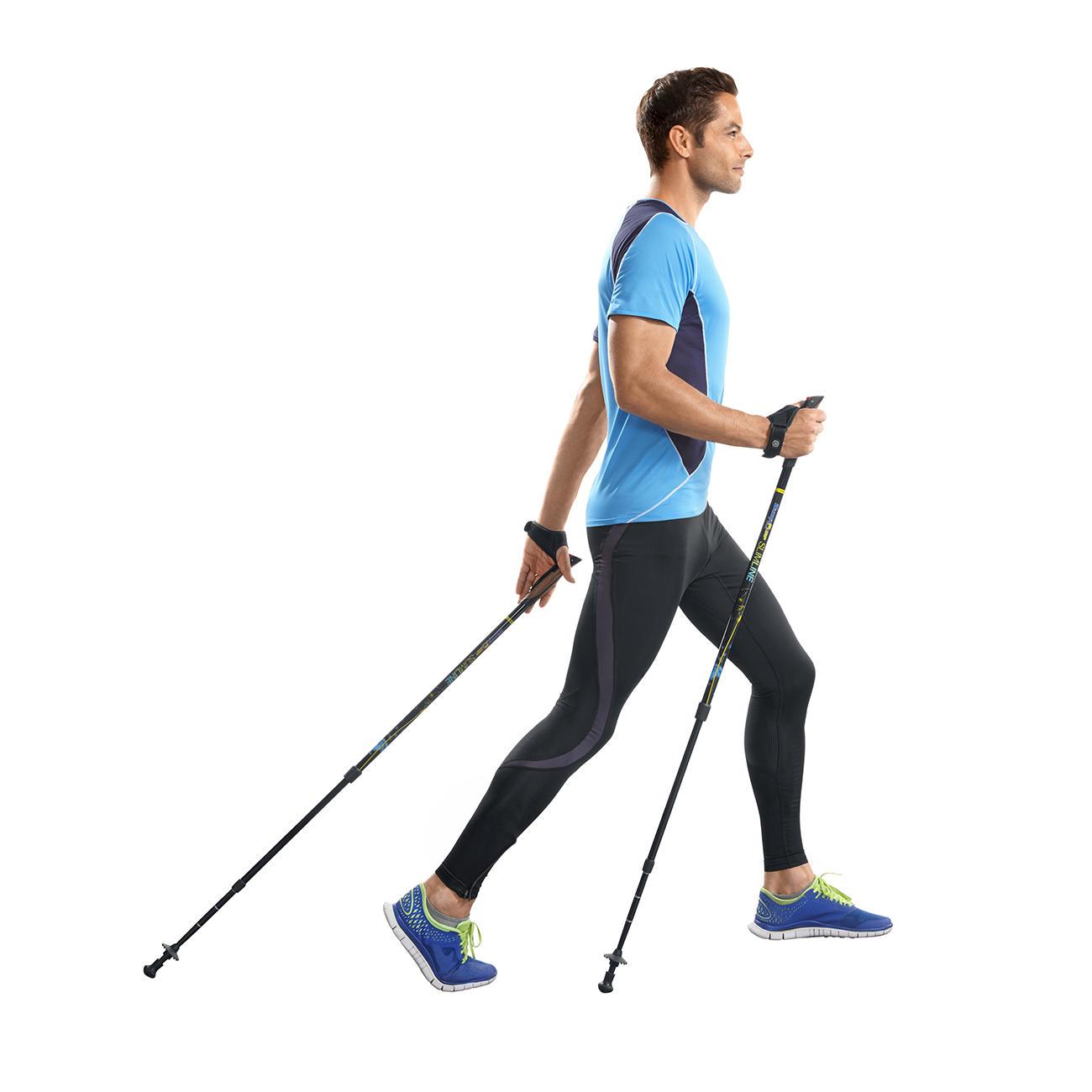 Aktive Walkingstöcke Effektiver trainieren dank Feder-Widerstand. Belegt durch eine Studie der Modo Sports Academy, Schweden.