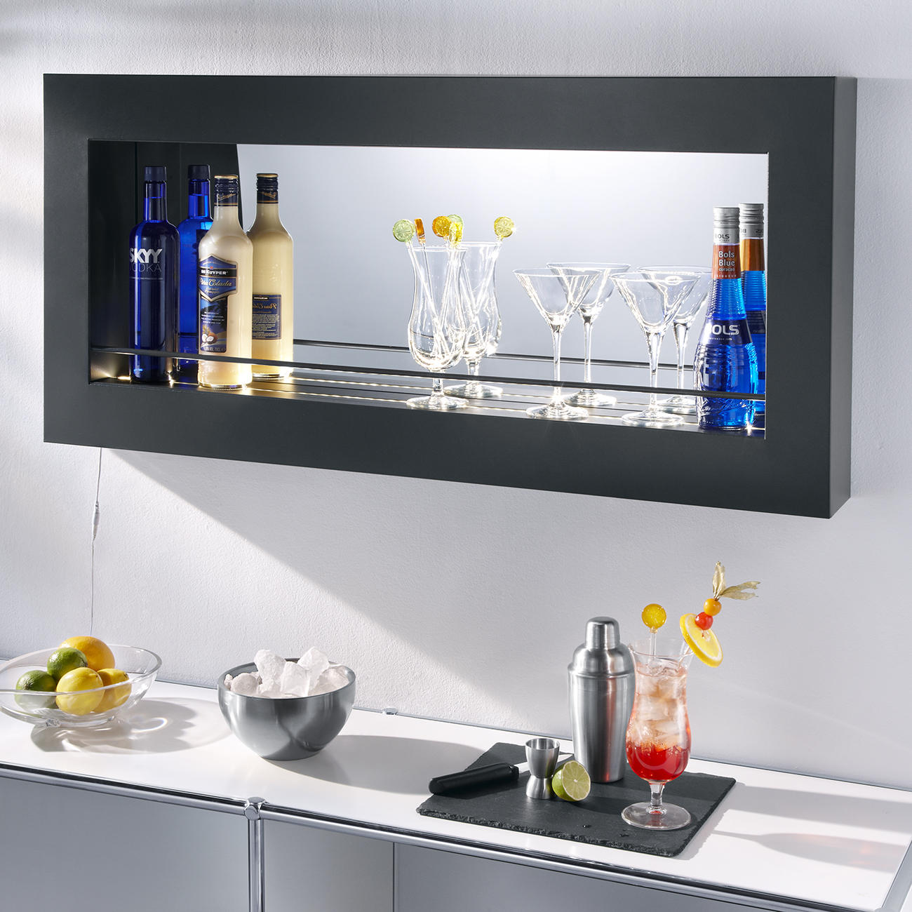 Probell Encore 110 Led Wandregal Als Bar Element Pulverbeschichteter Stahl 110 X 52 X 12 Cm Anthrazit