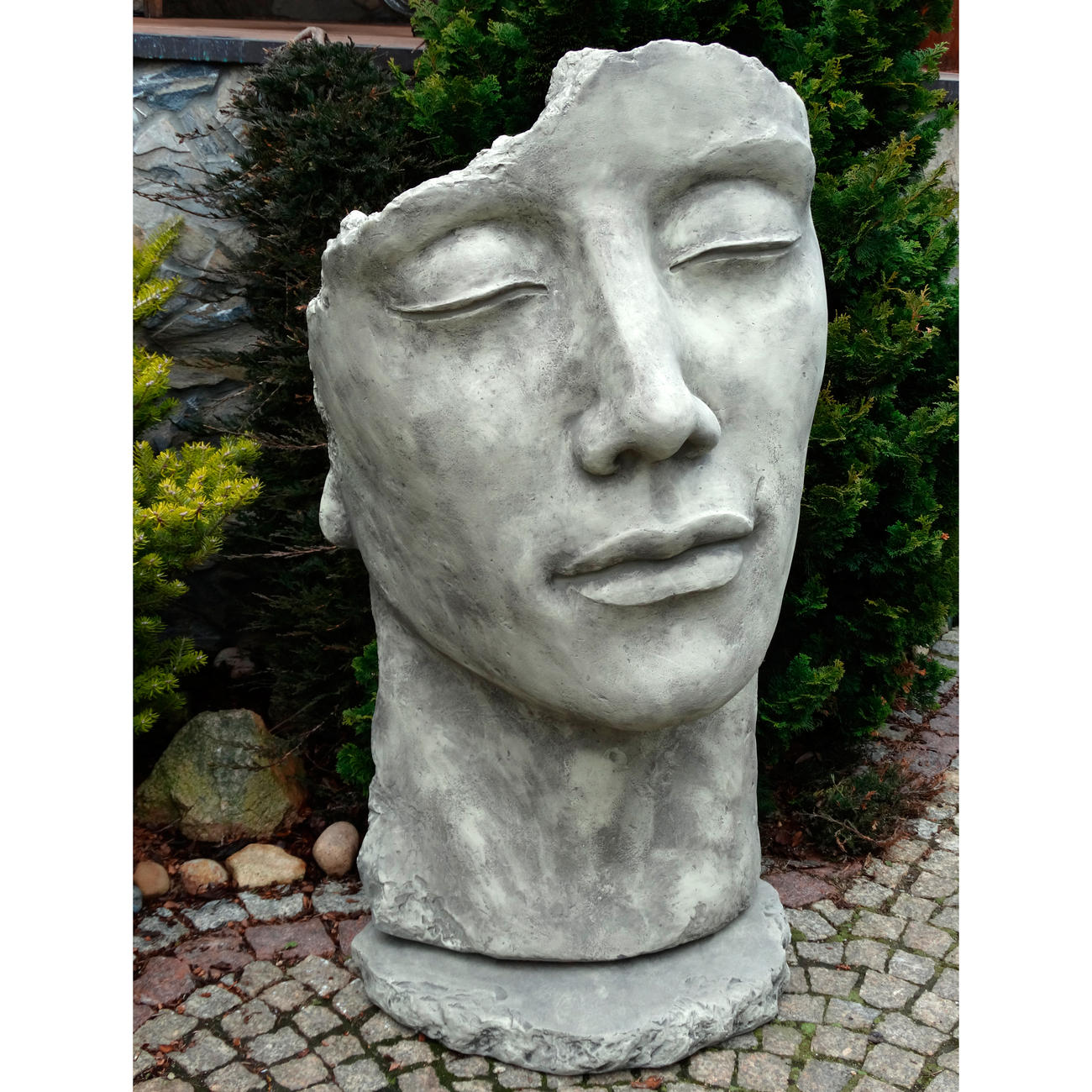 gartenfigur statue gesicht mann inkl platte zur montage. Black Bedroom Furniture Sets. Home Design Ideas