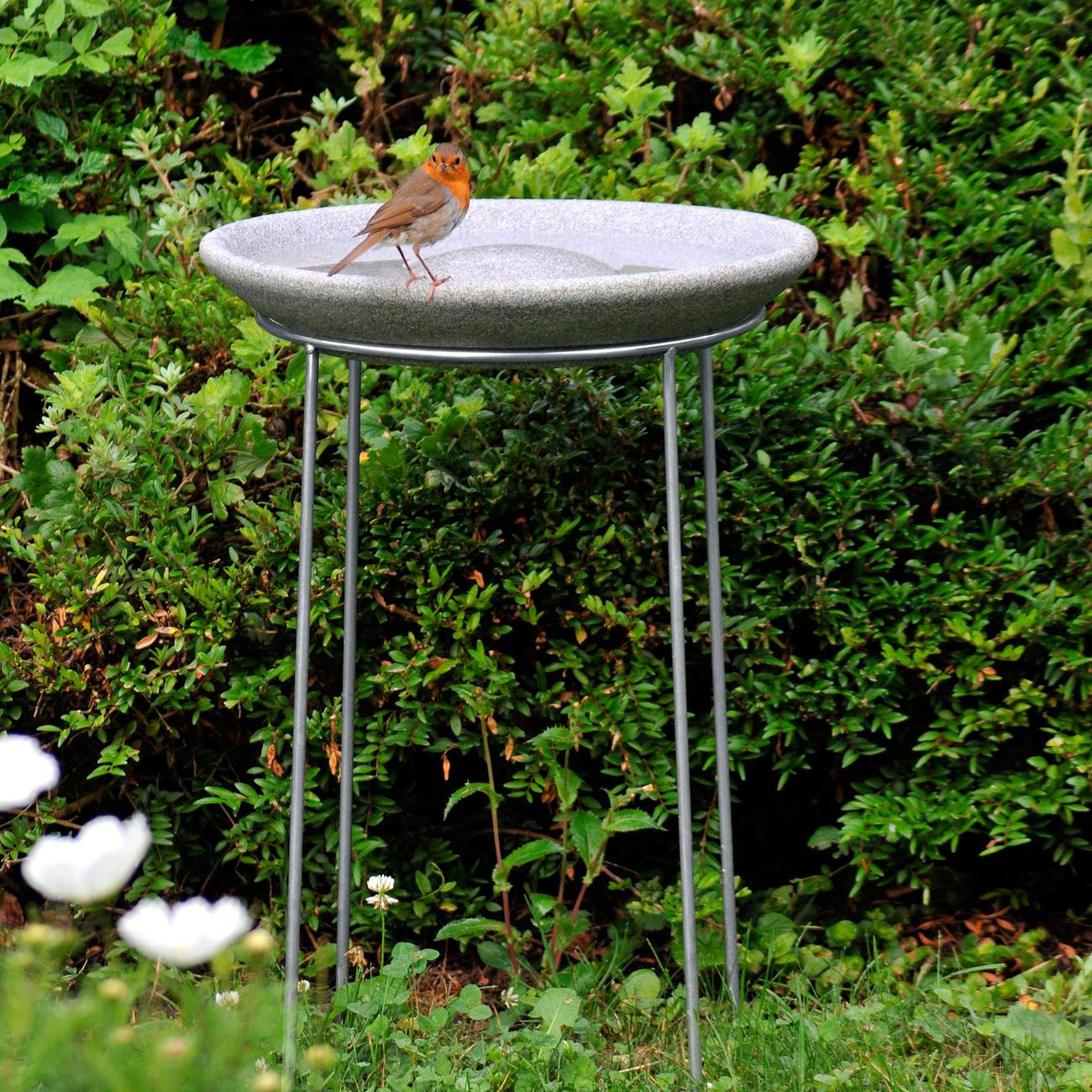 Denk Vogeltränke aus Granicium inkl. Edelstahl-Ständer