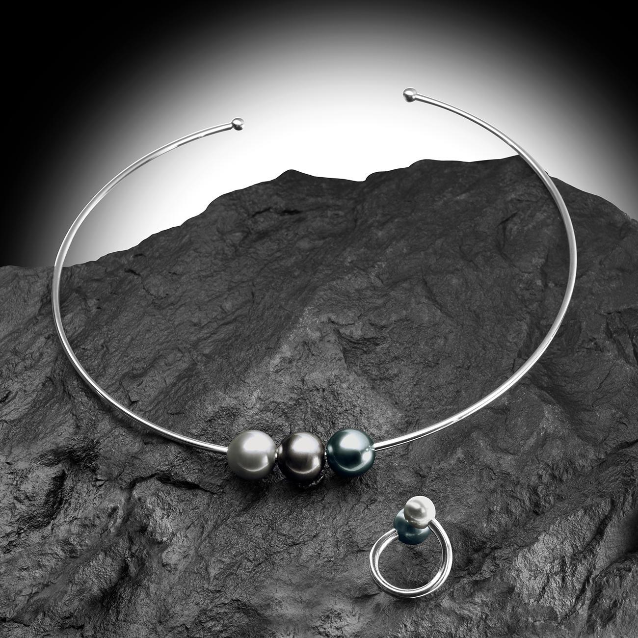Tahitiperlen-Halsreif, 925er-Sterling-Silber, 3 Tahiti-Perlen