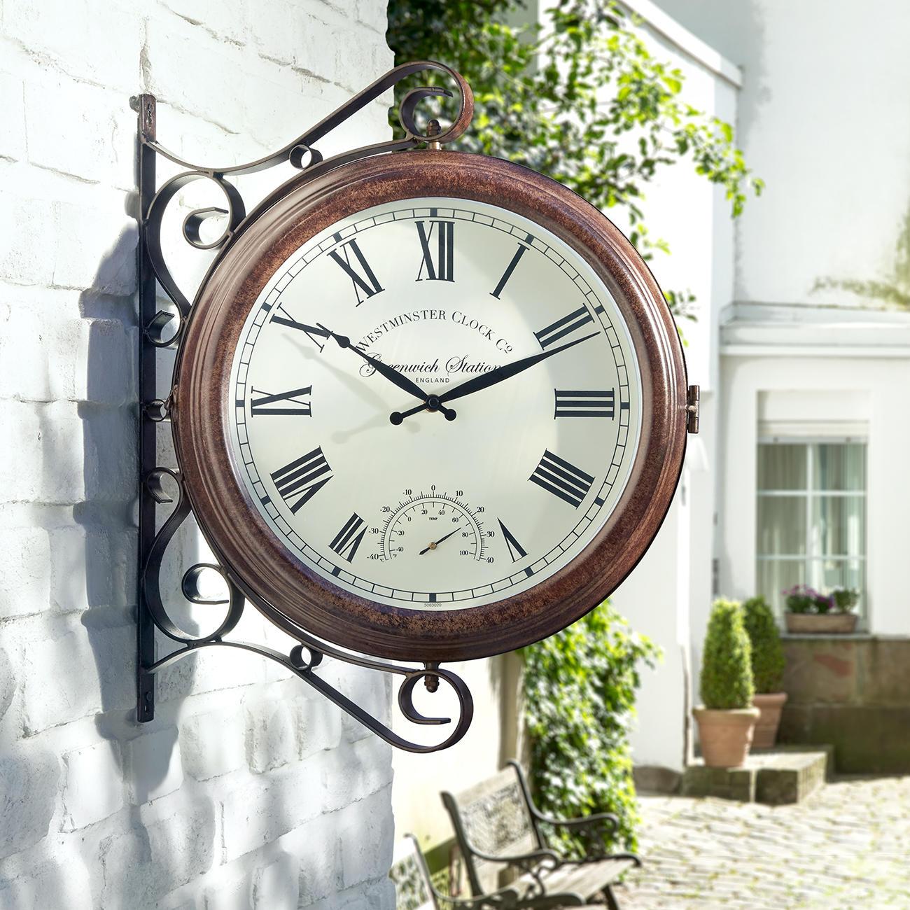 wanduhr bahnhofsuhr gartenuhr mit thermometer 38 cm. Black Bedroom Furniture Sets. Home Design Ideas