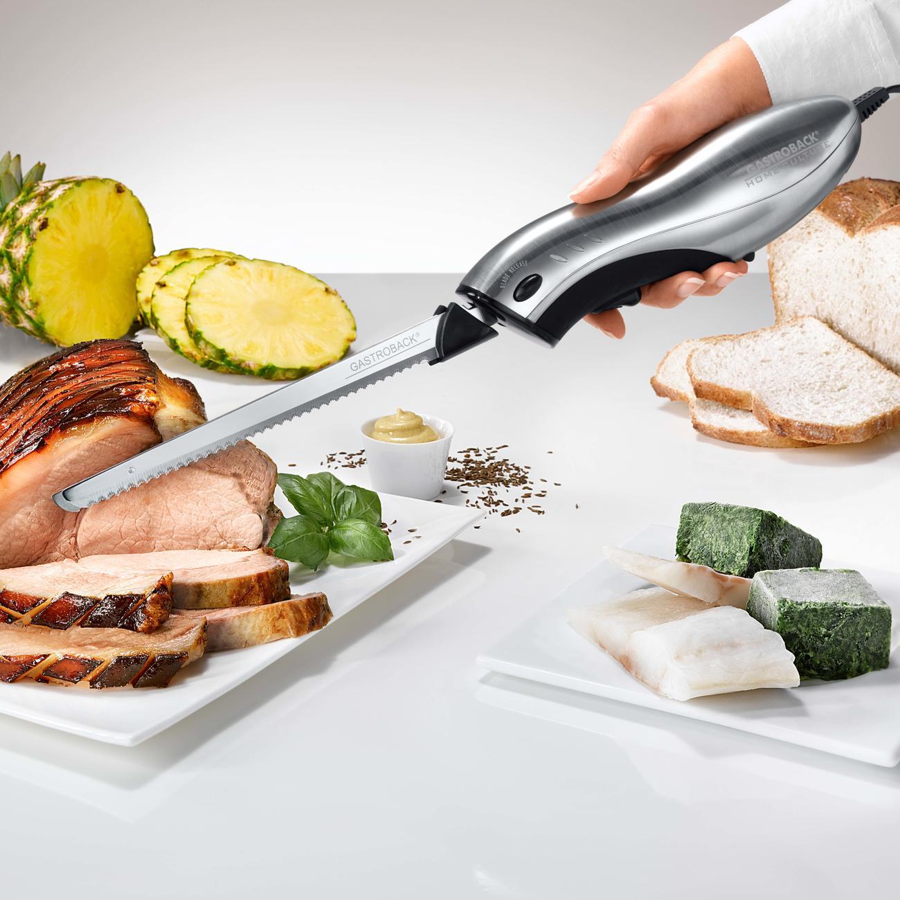 gastroback electric knife home culture elektromesser mit wechselklinge. Black Bedroom Furniture Sets. Home Design Ideas