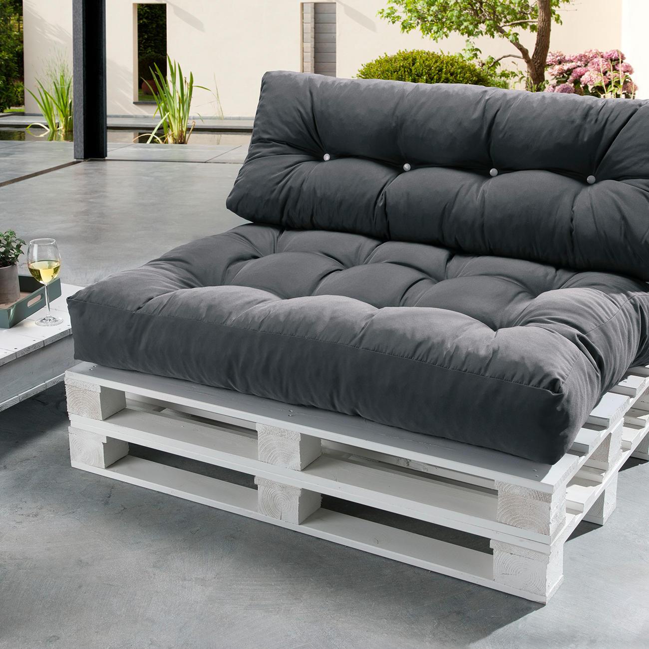 doppler palettenkissen sitzkissen und r ckenkissen anthrazit. Black Bedroom Furniture Sets. Home Design Ideas