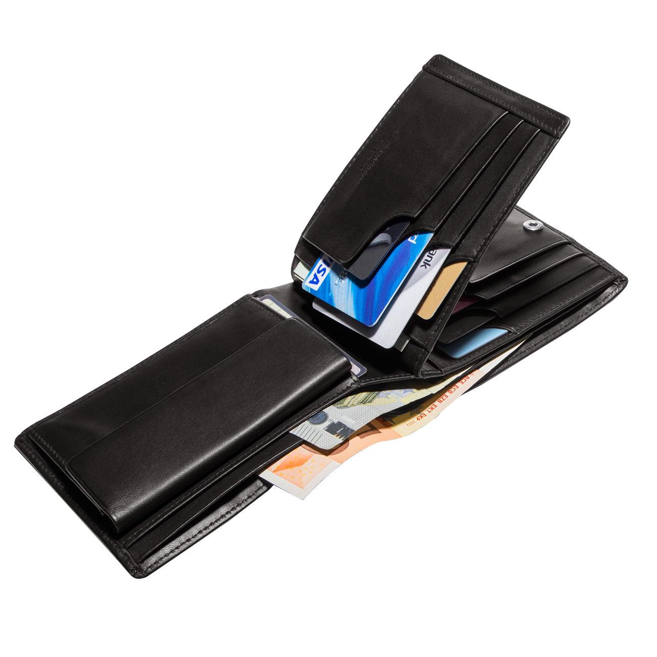 e47d2569c4a9f Patentierte Lederbörse - Mit patentiertem Sicherungssystem für Ihre  Kreditkarten. Lässt keine Karte mehr herausfallen. Integrierter  RFID-Diebstahlschutz.