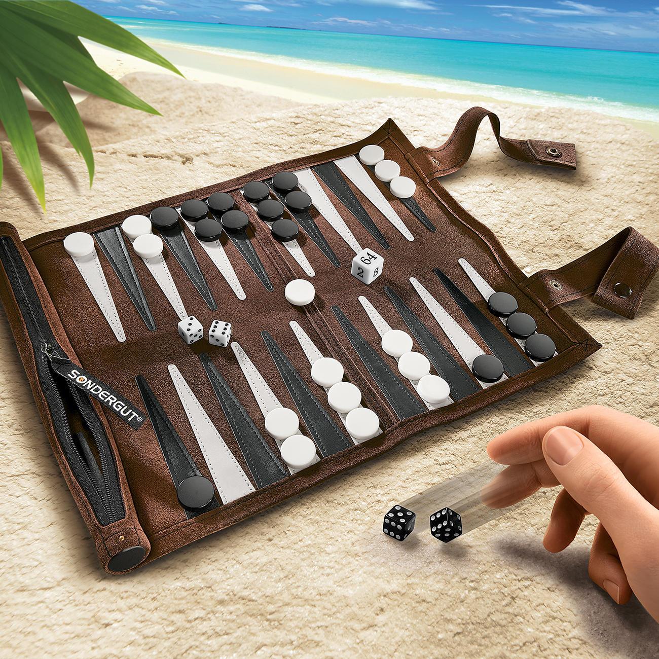 Reisebackgammon zum Rollen Kunstleder