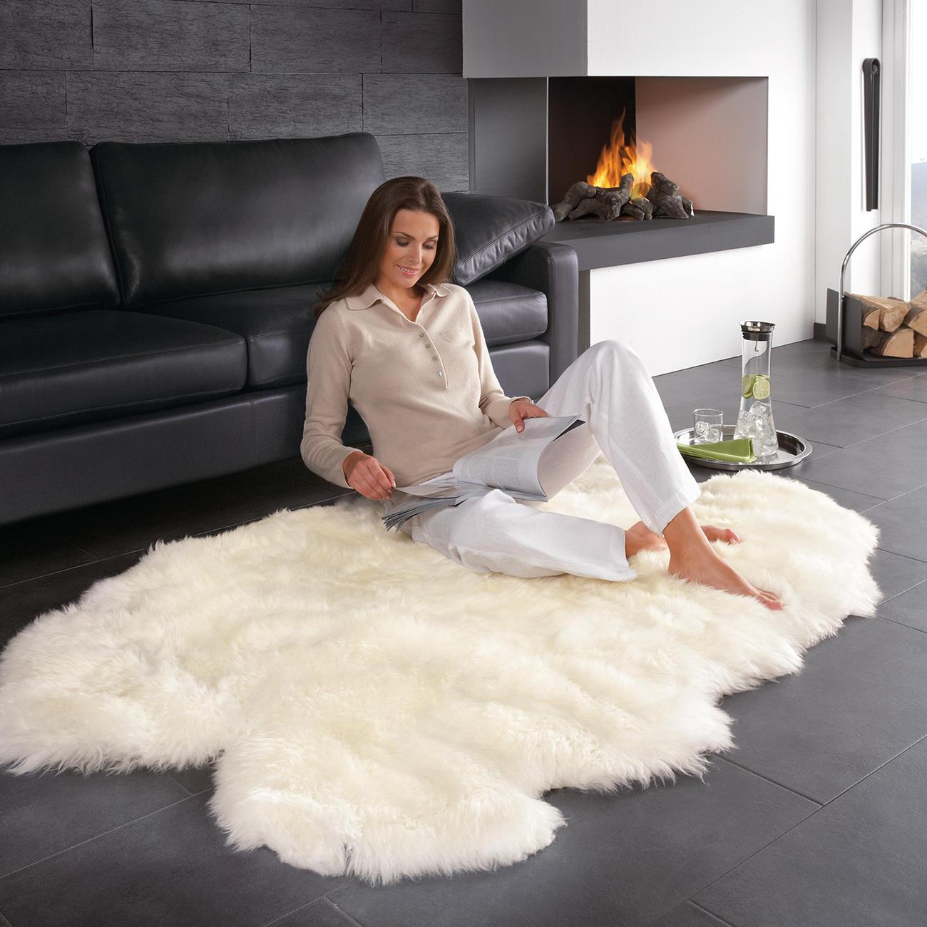 Kuscheliger teppich  Lammfell-Teppich - 160 x 100 cm groß und sogar maschinenwaschbar