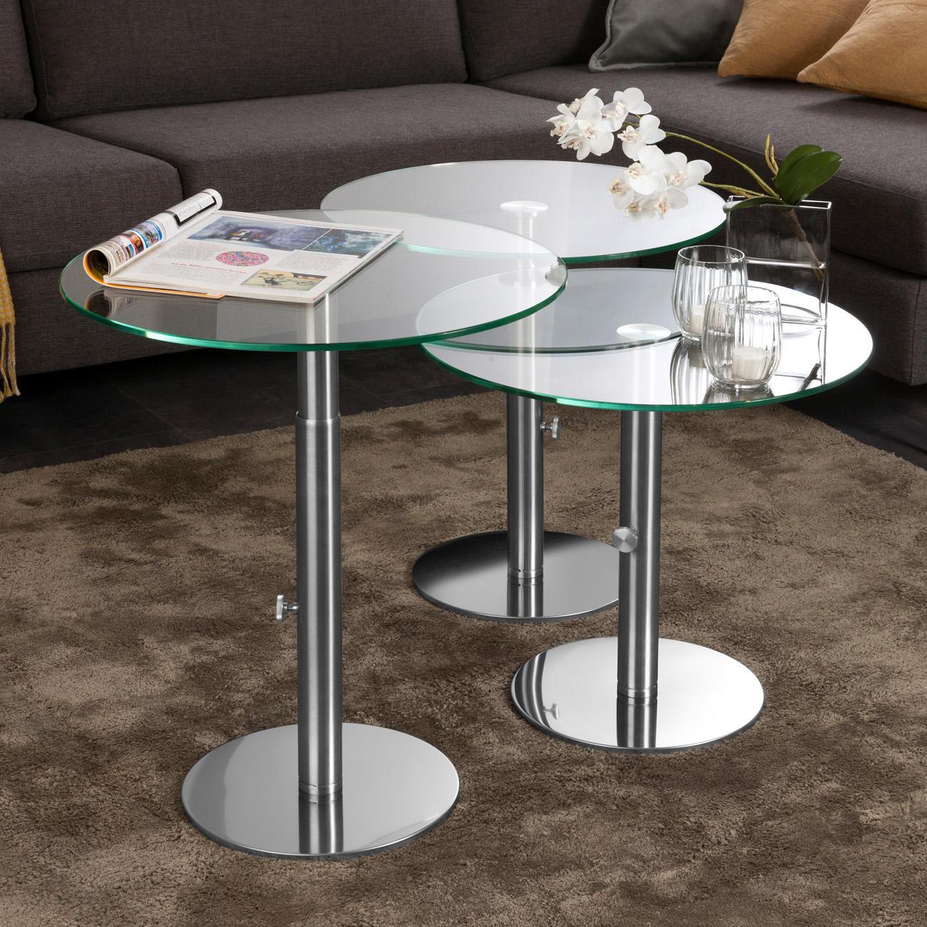 Ebinger glas beistelltisch edelstahl h henverstellbar von 48 5 65 cm for Beistelltisch glas edelstahl