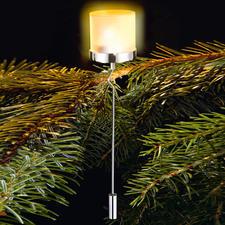 Weihnachtsbaum-Teelichthalter - Das warme Leuchten echter Christbaumkerzen – aber sicher abgeschirmt.