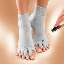 """Wellness-Socken """"Happy Feet"""" - Erholung für Pumps-geplagte Füße. US-patentierte Entspannungssocken für Ihre Zehen."""