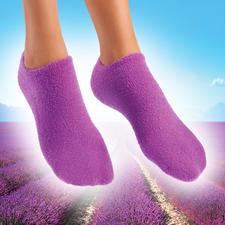 Socken oder Handschuhe mit Pflege-Gel - Streichelzart gepflegte Hände und Füße. Pflegendes Jojoba. Erfrischender Lavendel.