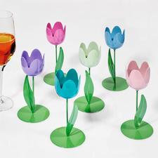 6 Metall-Tulpen, 15 cm H, Pastell