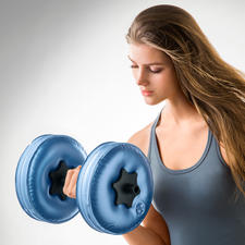 Wasser-Hanteln, 2er-Set - Hanteln to go: Mit Wasser gefüllt bis zu 8 kg schwer, ohne 480 g leicht. Auf Reisen so effektiv trainieren wie zu Hause.