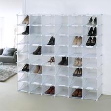 Schuh-Organizer mit aufsteckbaren Stopperleisten aus weißem Kunststoff. Jederzeit zu erweitern.