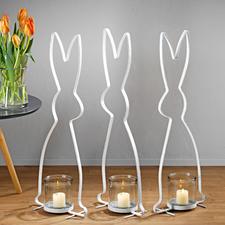 Hasen-Windlicht - Stilvolle Silhouetten-Skulptur. Hochaktuell im Vintage-Stil aus lackiertem Metall. Stattliche 72 (!) cm groß.