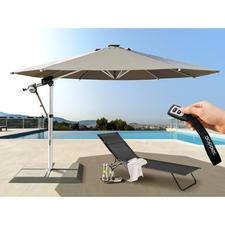 Pendelschirm Solmotion 400 E-drive inkl. Komfort-Zubehör - Der erste Mega-Sonnenschirm mit Solar-Elektroantrieb. Enorme 12 m² Schattenfläche. Auf und zu per Knopfdruck.