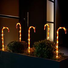 LED Zuckerstangen, 5er-Set - Im Ensemble bilden die 5 Leuchtstäbe eine effektvolle Umrandung für Bäume, Beete und Rabatten.