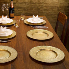 Festliche Glas-Platzteller, 6er-Set - Jeder Platzteller handgefertigt – einzigartig in Struktur und Metallic-Effekt. In trendiger Hammerschlag-Optik.