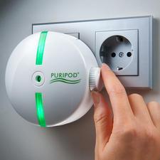 Puripod® Ionen-Luftreiniger - Saubere Raumluft - zuhause und unterwegs. Bindet Schmutzpartikel, erfrischt und beseitigt bis zu 99,97 %* Keime und Bakterien.