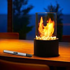 Deko-Tischkamin - Faszinierender 360°-Rundumblick auf die Flammen. Stimmungsvoller Blickfang auf Ihrem Couch-, Ess- oder Balkontisch.
