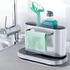 Spülbecken-Organizer - 3fach unterteilt (statt oft nur 2fach). Zum hygienischen Reinigen komplett zerlegbar.