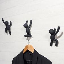 """Garderobenhaken """"Kletterer"""", 3er-Set - Modernes Kunstobjekt oder kunstvolle Wandgarderobe? Beides!"""