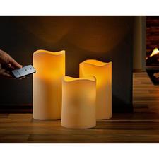LED-Echtwachskerzen, 3er-Set mit Fernbedienung - Schwer zu finden: Natürlich wirkende LED-Kerzen aus Echtwachs und im XXL-Format.