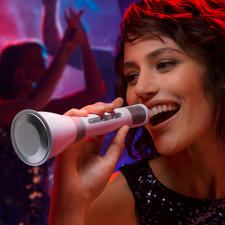 Bluetooth Karaoke Mikrofon - Fun und perfekte Performance: mit Stereo-Mikro, 3W-Lautsprecher, Lautstärkenregler und Echo-Effekt.