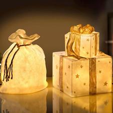 Weihnachtsbeutelleuchte oder Geschenkeleuchte - Transluzente Steinoptik verbreitet wunderbar warmes Licht. Für drinnen und draußen.