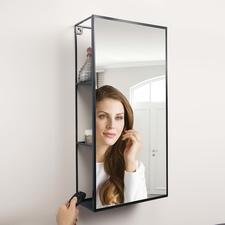 Spiegelregal Cubiko - Raffiniert integriert: der Spiegel mit viel verborgenem Stauraum.