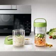 2-in-1 Lunch-Container - Die bessere Lunchbox: bewahrt Salat & Dressing, Müsli & Früchte, Pasta & Soße, ... appetitlich getrennt.