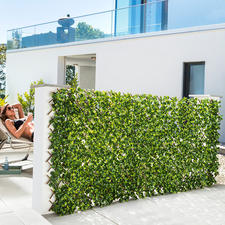 Flexible, immergrüne Pflanzenwand - Nur auspacken, anbringen – schon fertig. Auf bis zu 1 x 2 m ausziehbar.