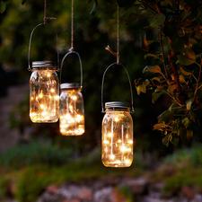 LED Lichterkette im Einmachglas, 3er-Set - Mikro-LED-Lichterkette mit Dämmerungs-Automatik. Solarbetrieben und outdoortauglich.