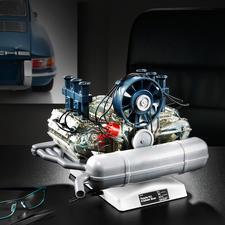 Steckbausatz Porsche 6-Zylinder-Boxermotor inkl. Modellauto Porsche 911 - Motoren-Technik mit Kultstatus: der Porsche 6-Zylinder-Boxermotor als bewegliches 1:4-Modell.