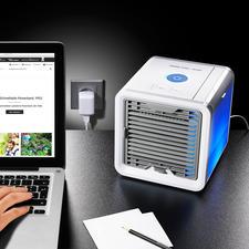 Personal Air-Cooler - Das wohl kleinste Verdunstungs-Klima-Gerät der Welt. Kühlt, befeuchtet und reinigt die Luft.