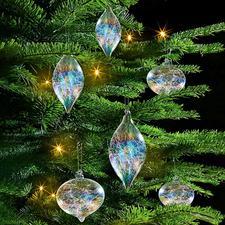 Irisierender Glasfäden-Baumschmuck, 6er-Set - Reizvolles Lichtspiel: der Baumschmuck mit Glasfäden-Füllung und RegenbogenSchimmer.