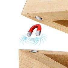 Magnete in den Sternspitzen fixieren die Deckel passgenau.