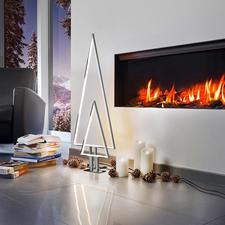 LED-Indoor-Lichtbaum - Kitschfrei schlichtes Aluminium-Design. Raffiniert konturiert durch innenliegende LED-Lichtbänder.
