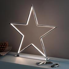 Sternenglanz - Cooles, kitschfreies Deko-Objekt: der verchromte Stern mit LED-Leuchtkonturen.
