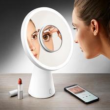 """4-in-1 Kosmetikspiegel """"Moon Mirror"""" - Mit einem Handgriff vom Kosmetikspiegel zur Tischleuchte. Ausgezeichnet mit dem Red Dot Design Award 2018."""