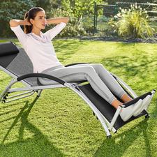 2-in-1 Multifunktionsliege - Relax-Liege und Bauchmuskeltrainer in einem. Die mehrfach verstellbare Multifunktionsliege im eleganten Design.