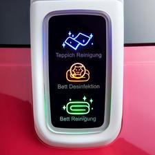 Leicht verständliche Symbole zeigen den gewählten Modus an: Teppich Reinigung, Bettwaren-Desinfektion oder Bettwaren-Reinigung.