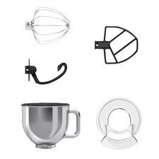Mitgeliefert: 5-l-Edelstahl-Rührschüssel, Spritzschutz mit Einfüllöffnung und 3-teiliges Set zum Kneten, Rühren, Mischen und Schlagen.