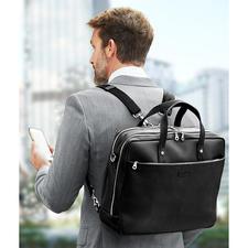 Mit den längenverstellbaren Rucksack-Gurten tragen Sie Ihre Laptop-Tasche bequem auf dem Rücken.
